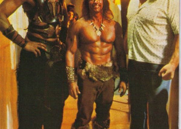 Andre with Arnold Schwarzenegger and Wilt Chamberlain in the 1984 movie Conan The Destroyer