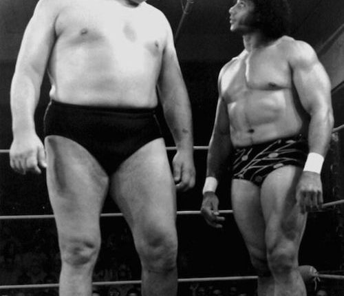 Andre and a fellow wrestler in the World Wrestling Federation